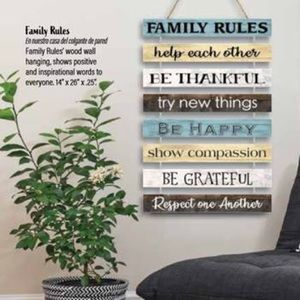 """Family Rules"" Wood Wall Hanging 14""x26""x1/4"""